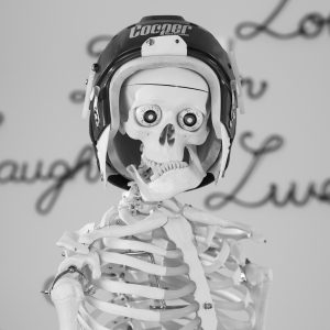 skeleton with hockey helmet
